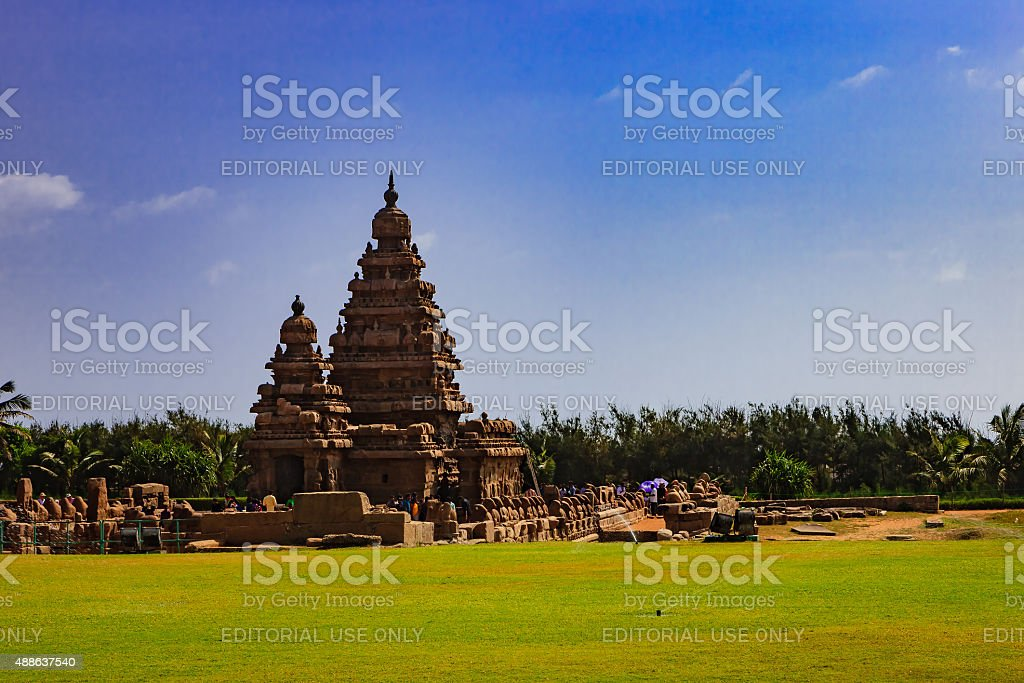 Mahabalipuram, India - Tourists at the Shore Temple stock photo