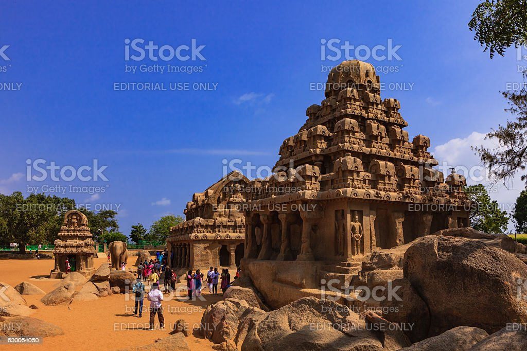 Mahabalipuram, India: 7th Century AD Pancha Rathas stock photo