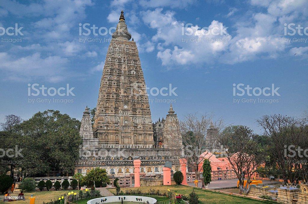 Mahabodhi temple, Bodh Gaya, India. stock photo