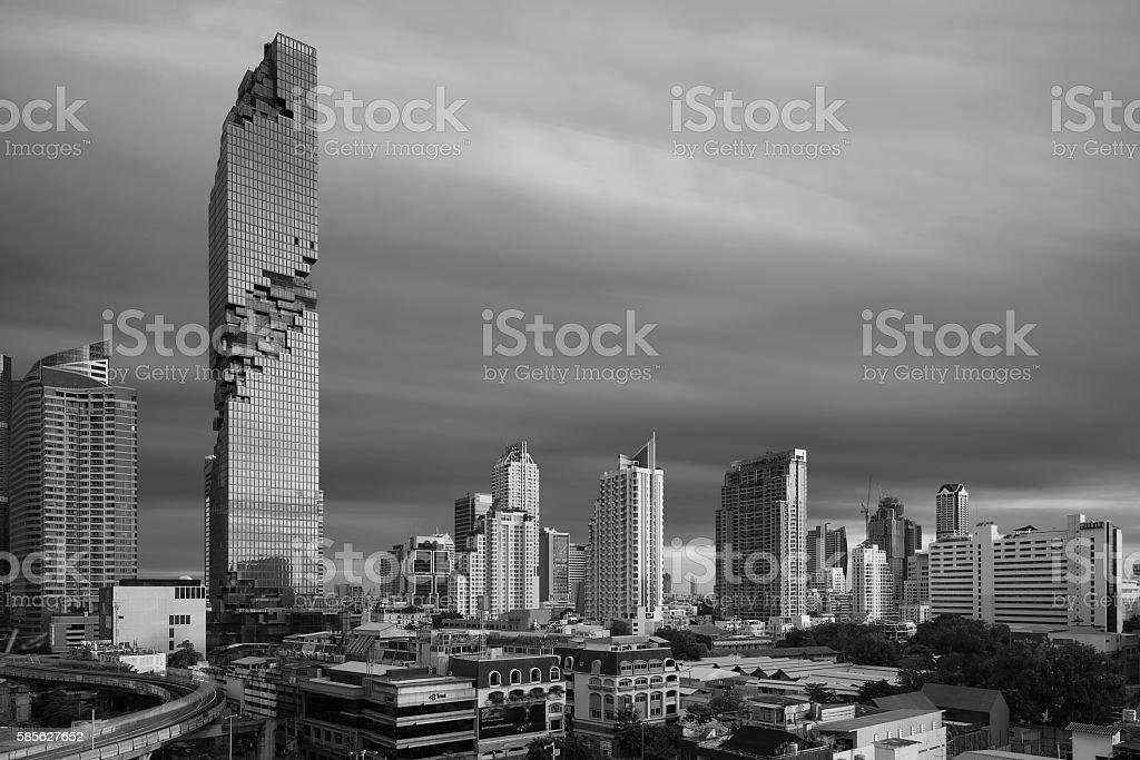 MahaNakhon Condominium with Bangkok Skyline, Thailand in Black and White stock photo