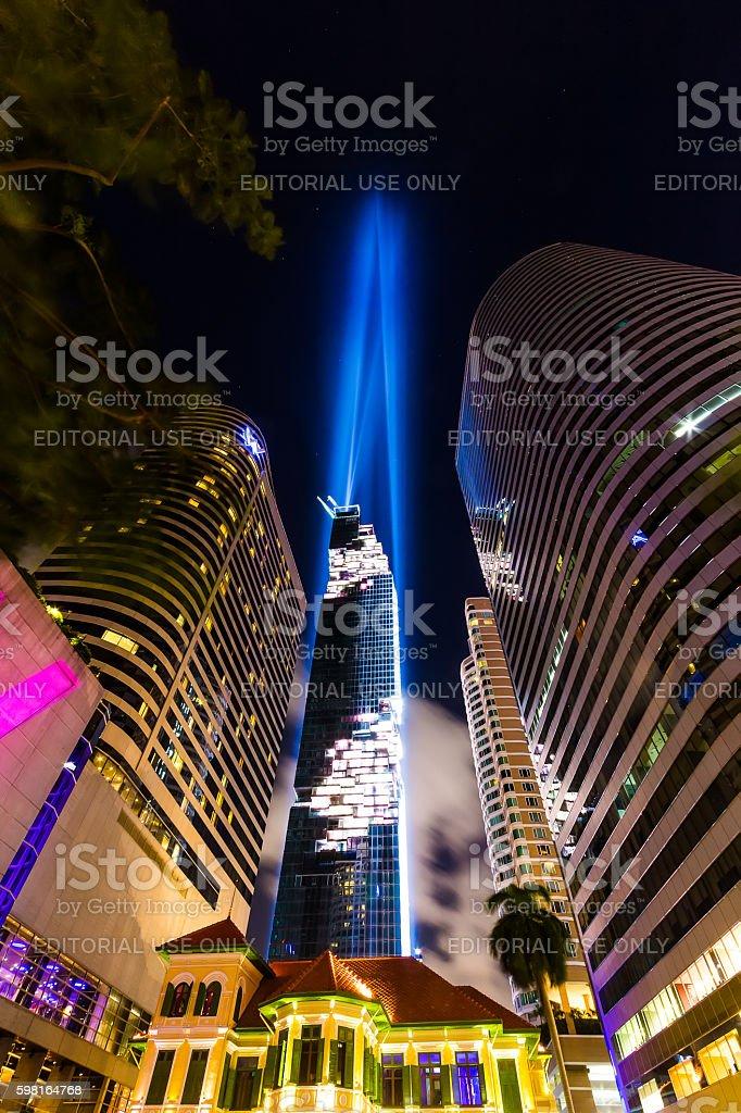 Mahanakhon cube the highest building in Thailand. stock photo