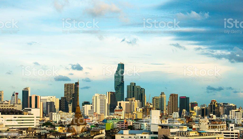 Mahanakhon Iconic Cityscape Panorama Tallest Building Thailand Pixelated Contemporary Architecture stock photo