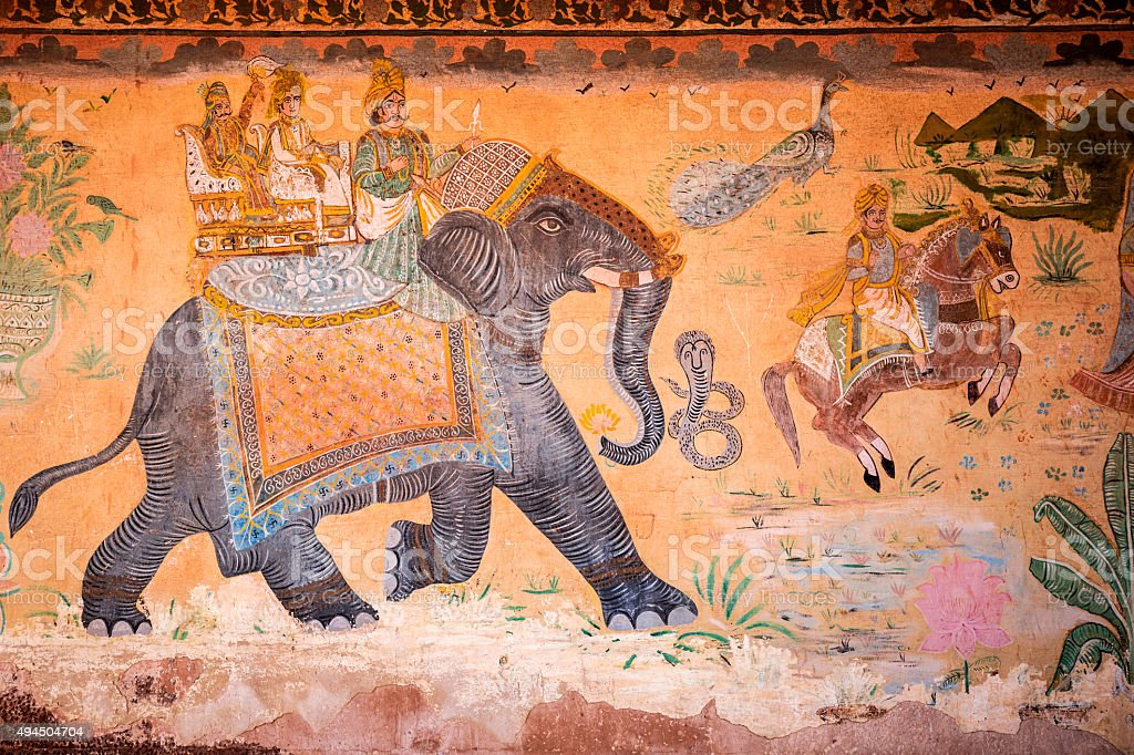 Maharaja on elephant ancient mural in Fort Pokaran India stock photo