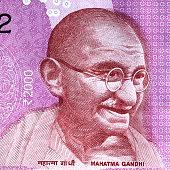Mahatma Gandhi portrait on Indian 2000 rupee banknote