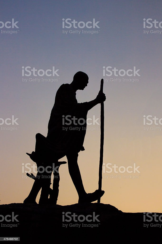 Mahatma Gandhi Statue in silhouette, New Delhi stock photo