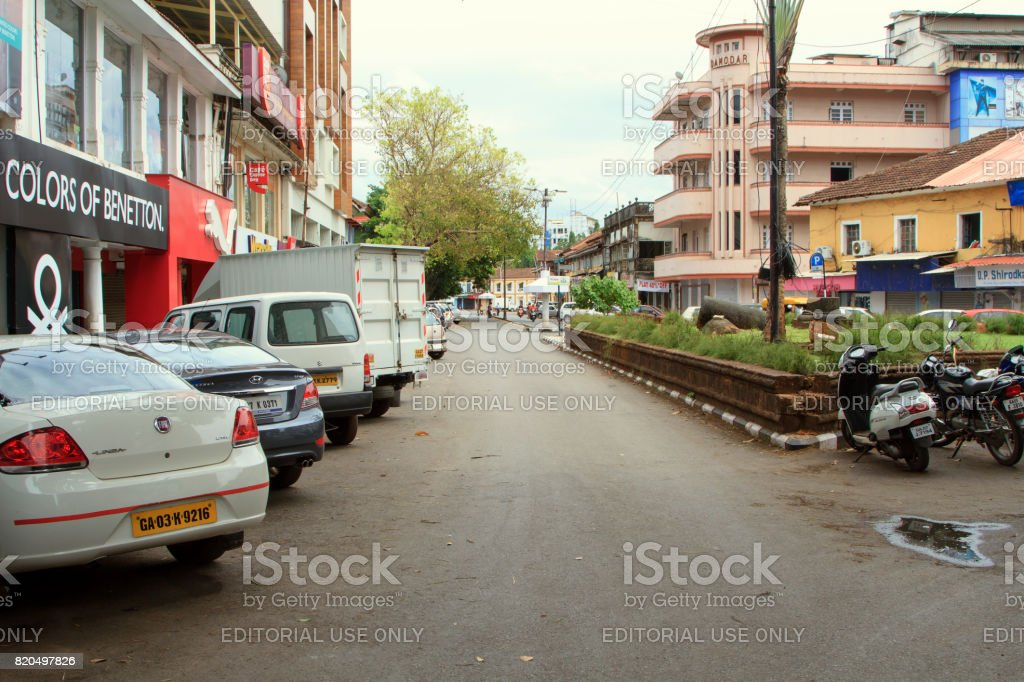 Mahatma Gandi Road in Panjim city stock photo