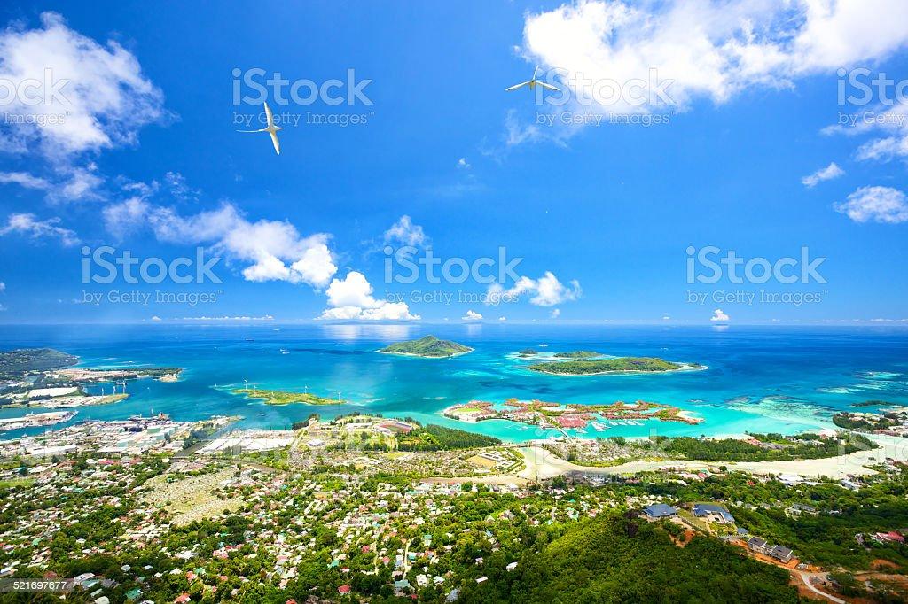 Mahe coastline stock photo