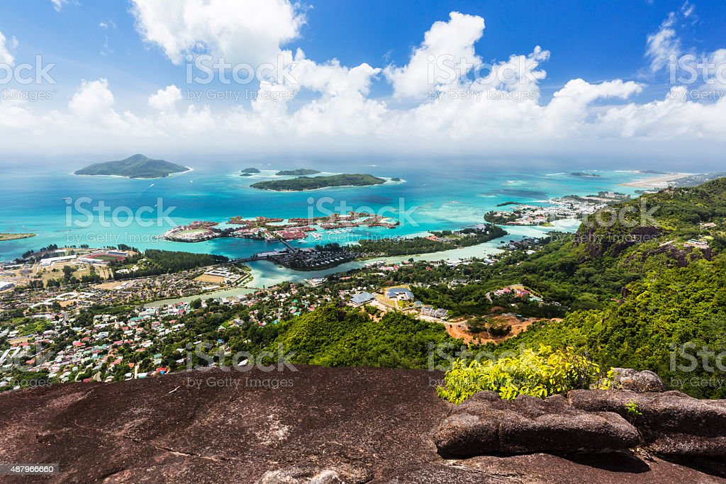 Mahe Coastline View, Seychelles stock photo