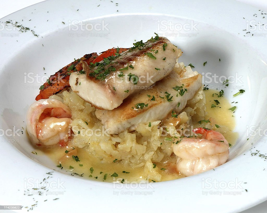 MahiMahi with shrimps royalty-free stock photo