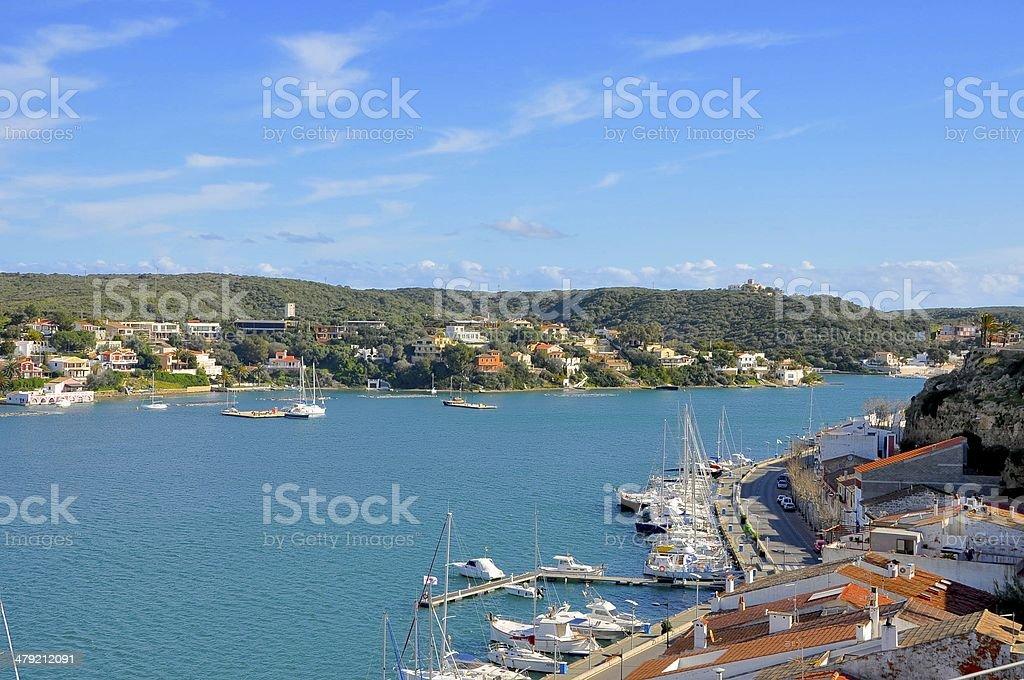 Mahón natural Harbour stock photo