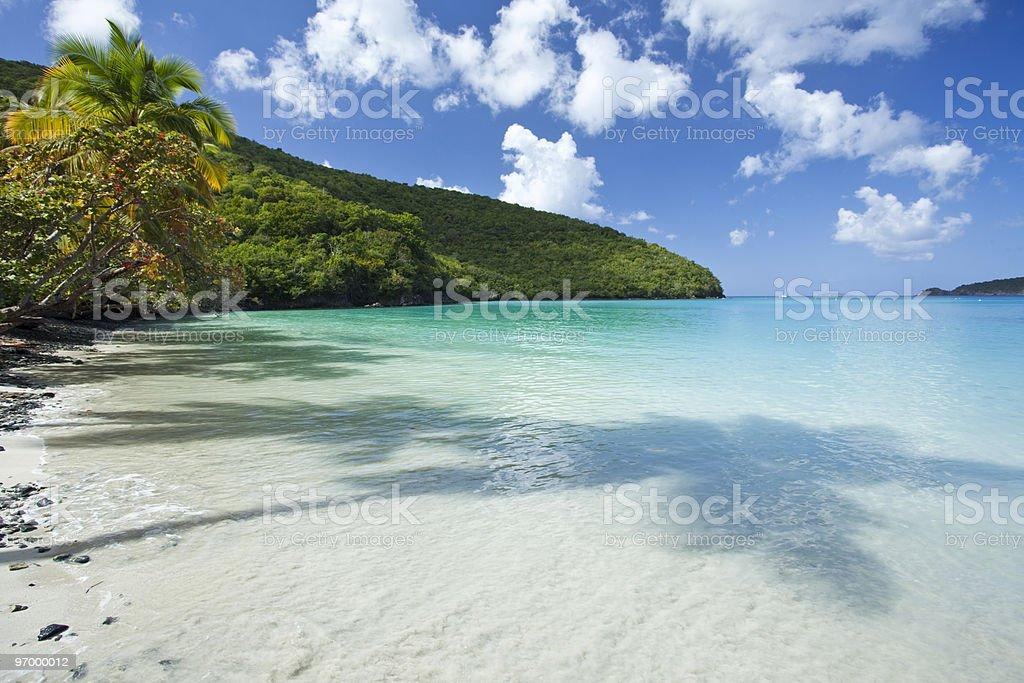 Maho Bay in US Virgin Islands stock photo