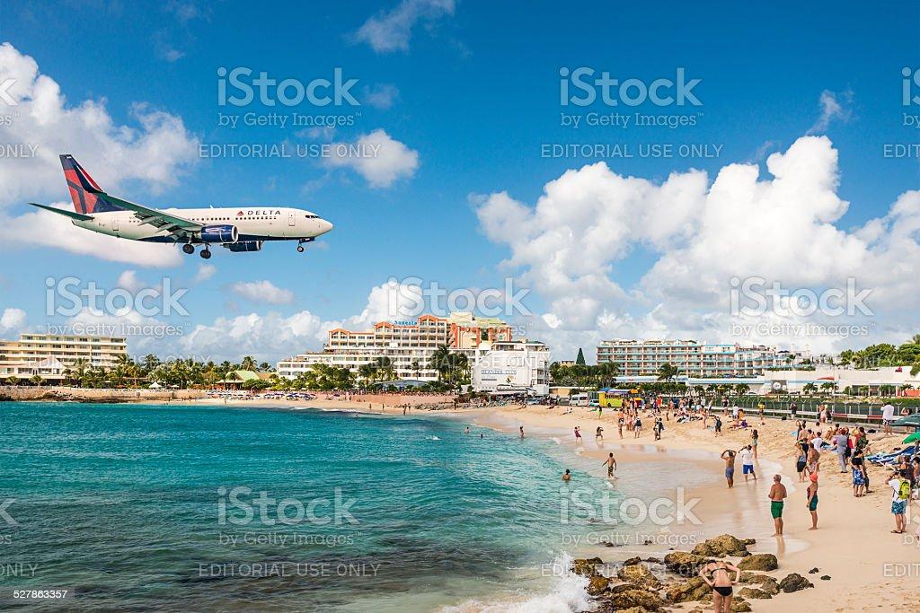 Maho Beach on Sint Maarten stock photo