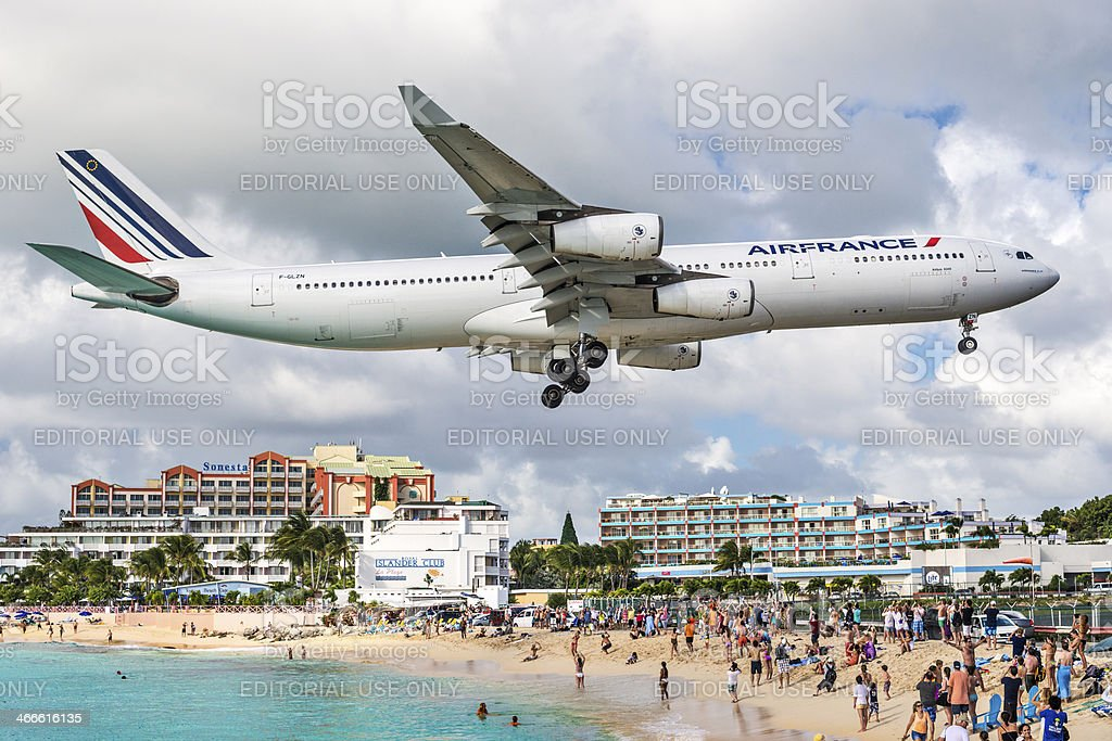 Maho Beach Philispburg, Sint Maarten, Dutch Antilles stock photo