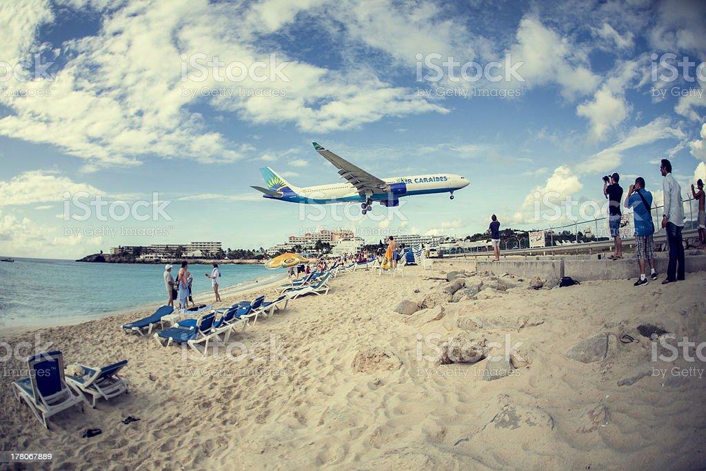 Maho Beach-St. Martin stock photo