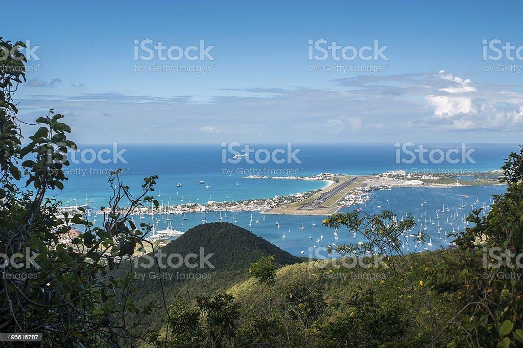 Maho-Beach and Princess Juliana Airport, St. Maarten stock photo
