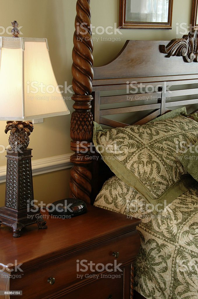 Mahogany Bedside Table royalty-free stock photo