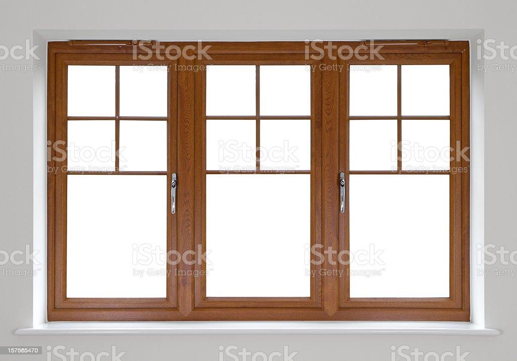 Mahogany double glazed windows stock photo