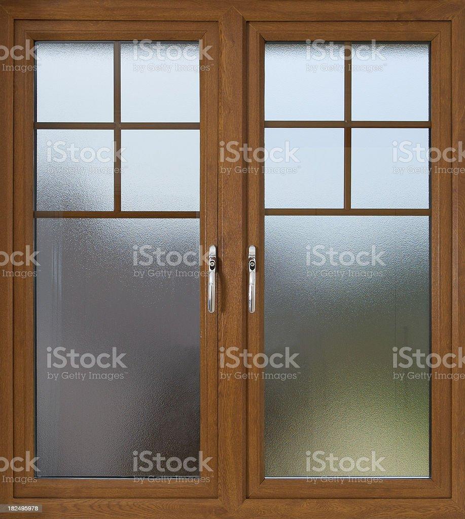 mahogany doubled glazed frosted window royalty-free stock photo