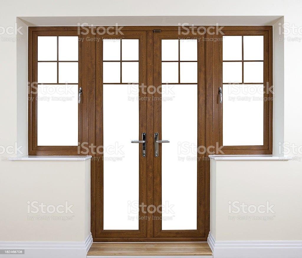 Mahogany Garden Doors royalty-free stock photo