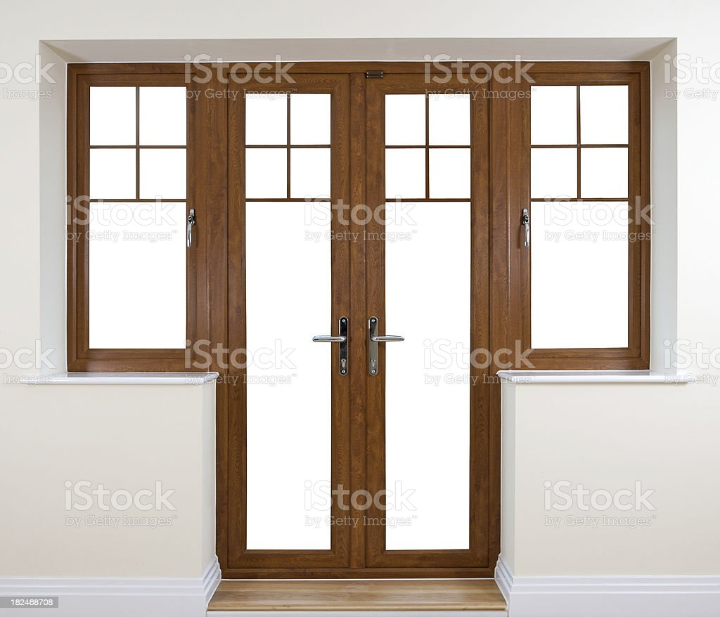 Mahogany Garden Doors stock photo