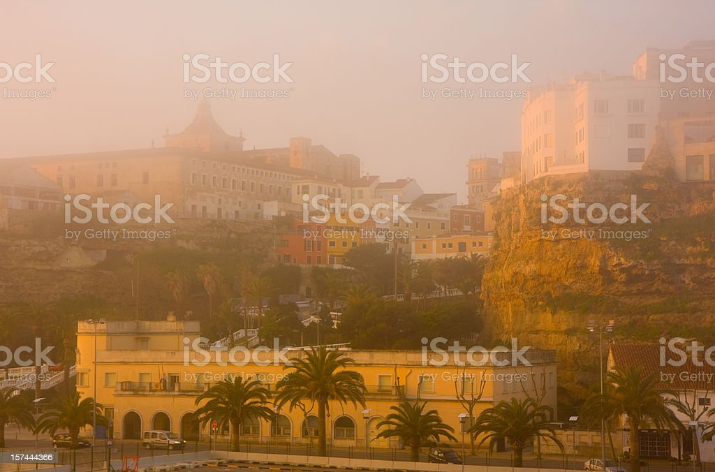 Mahon foggy harbour view at sunrise stock photo