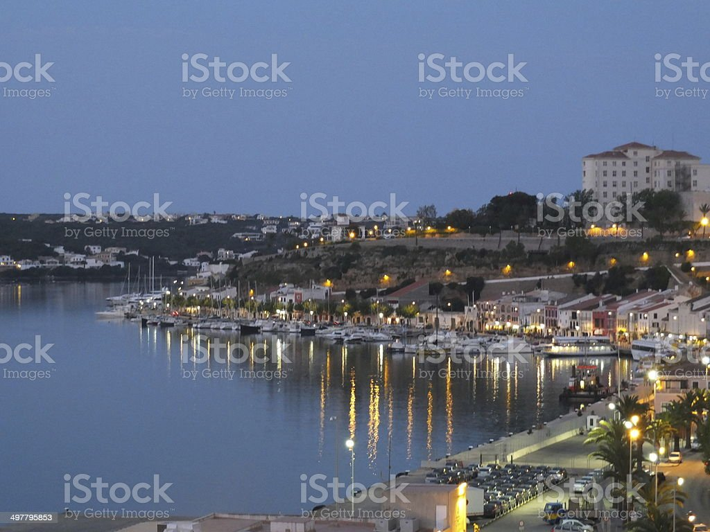 Mahon Harbour At Dusk stock photo