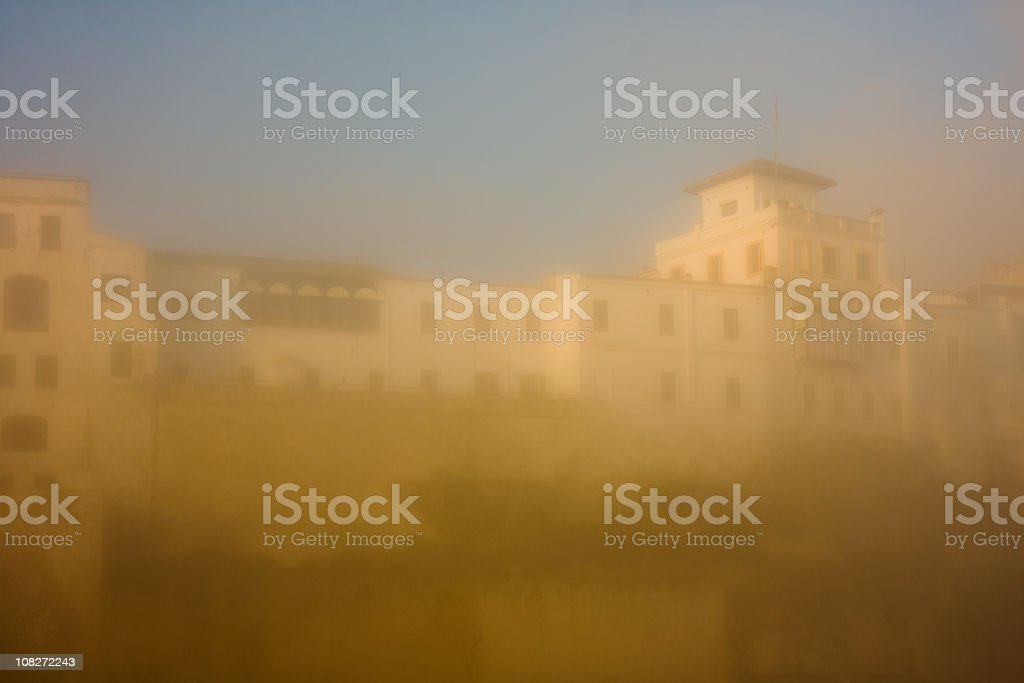 Mahon Harbour in Minorca, Spain with Morning Fog stock photo