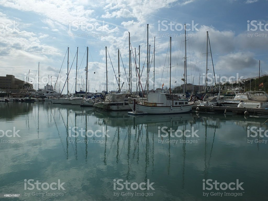 Mahon Harbour Reflections stock photo