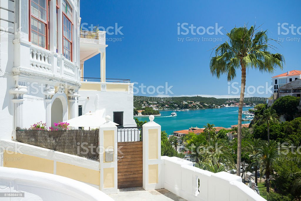 Mahon, Menorca, view to the natural harbour stock photo