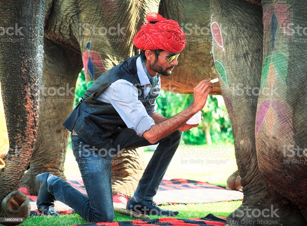 Mahout decorating his elephant. stock photo
