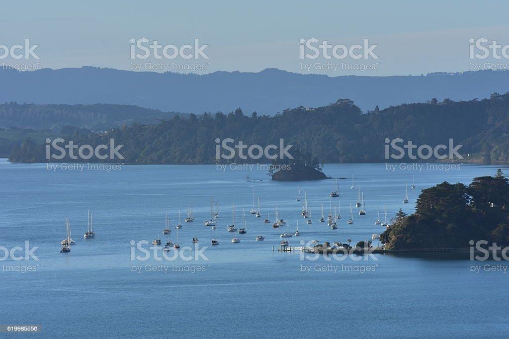 Mahurangi harbour view stock photo