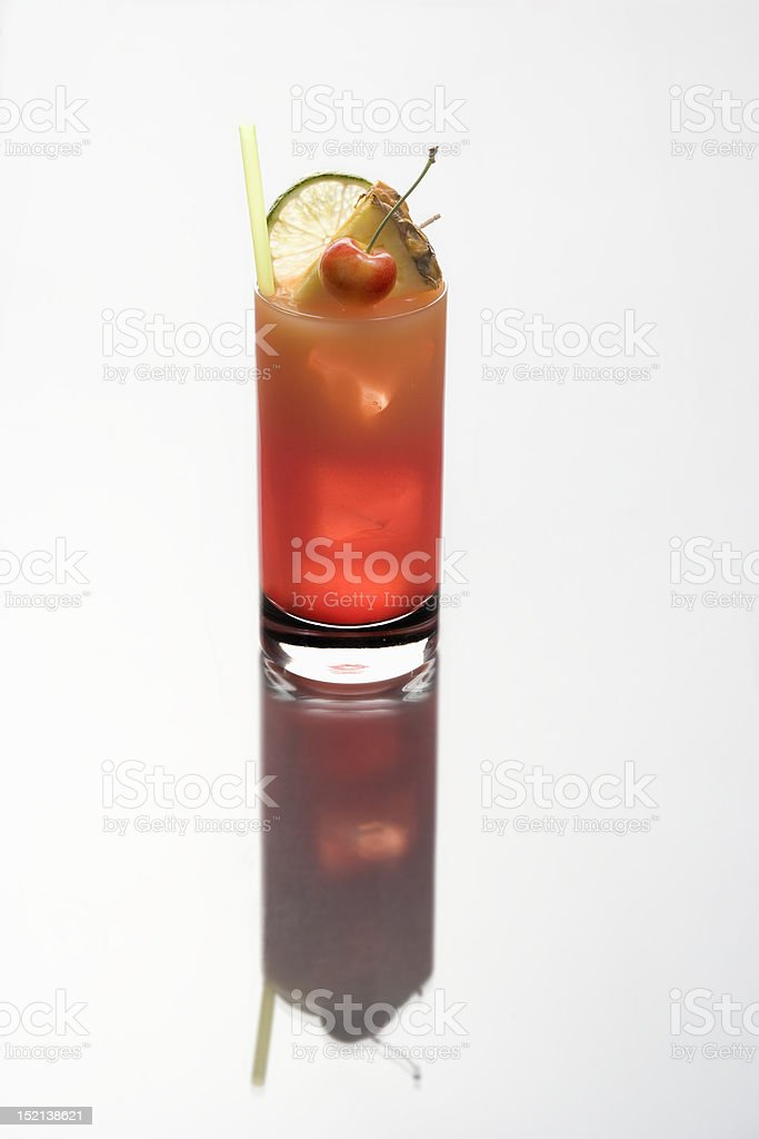 Mai Tai cocktail on a white background with reflection stock photo