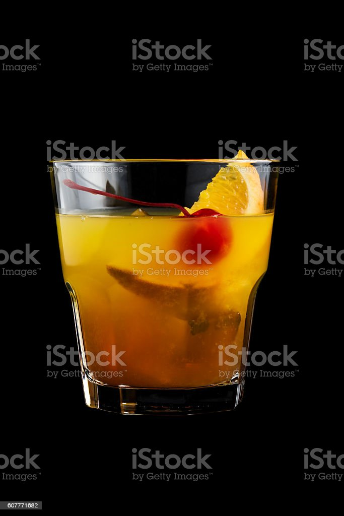 Mai Tai cocktails on black background stock photo