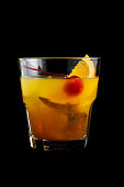 Mai Tai cocktails on black background