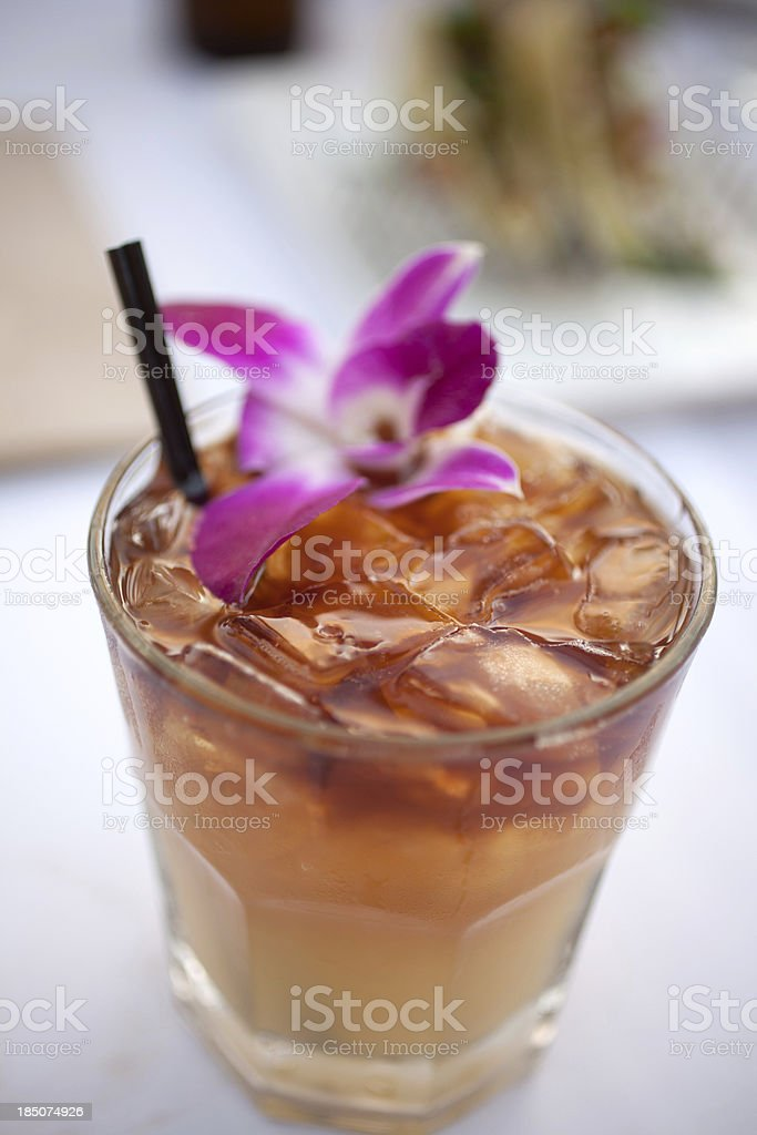 Mai tai with orchid flower stock photo