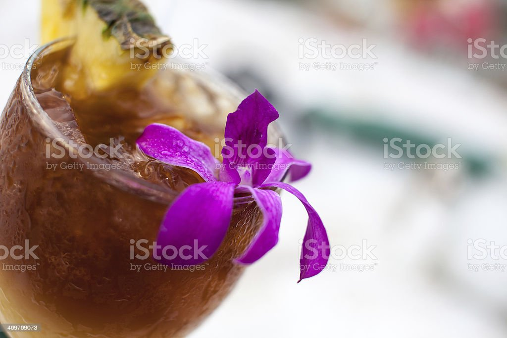 Mai Tai With Pineapple and Orchid stock photo