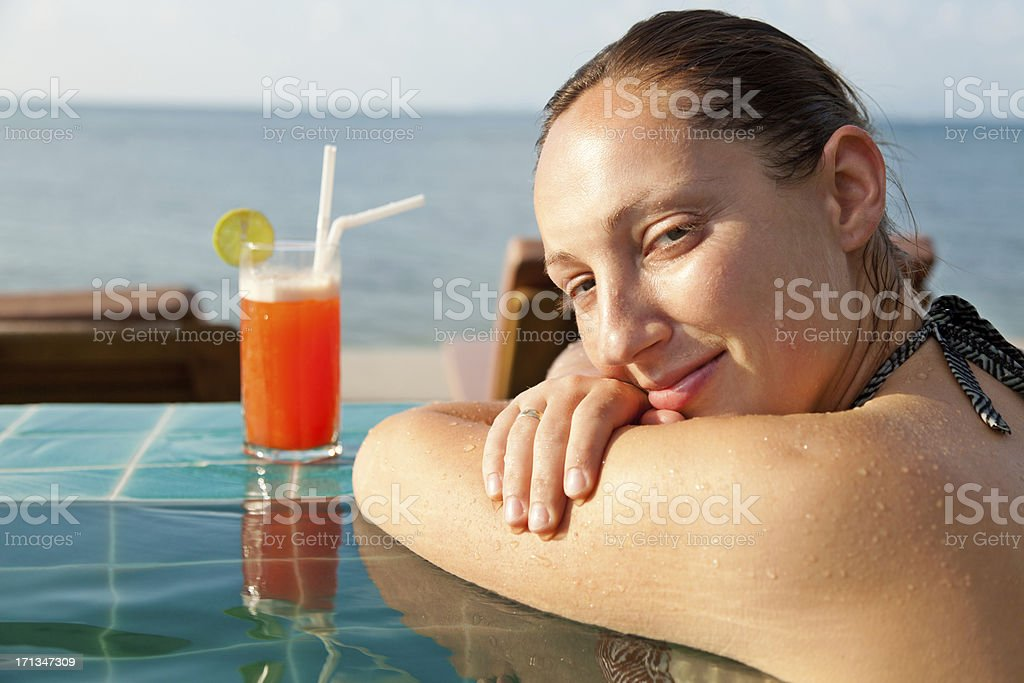 Mai Thai Cocktail at the pool royalty-free stock photo