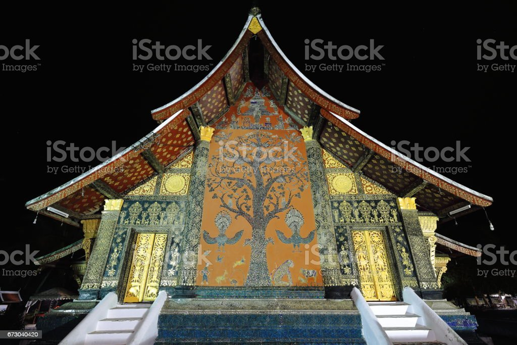 Mai Thong-Tree of life mosaic. Wat Xieng Thong-Luang Prabang-Laos stock photo