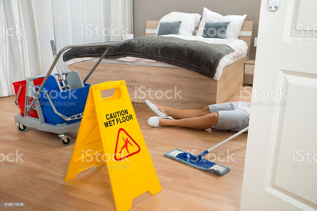 Maid Had Accident While Cleaning Hotel Room stock photo