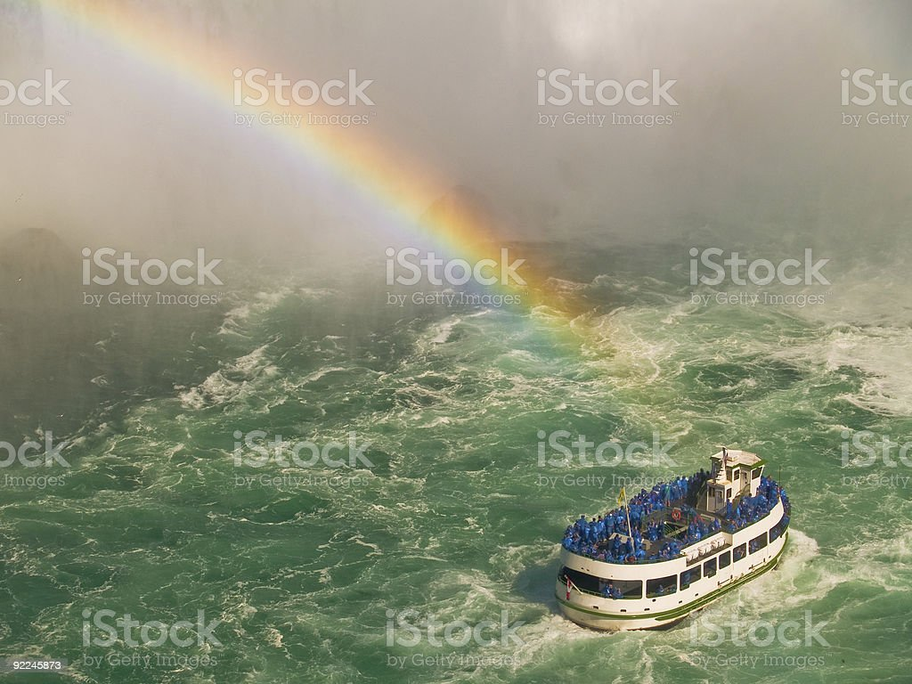 Maid of the Mist Tour Boat under a Rainbow stock photo