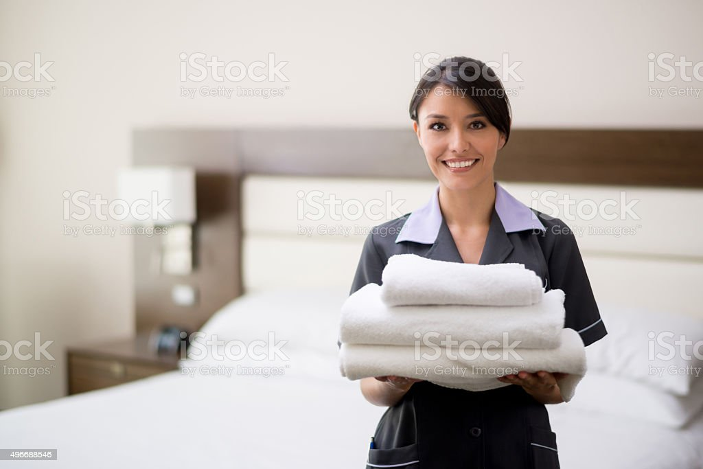 Maid working at a hotel stock photo