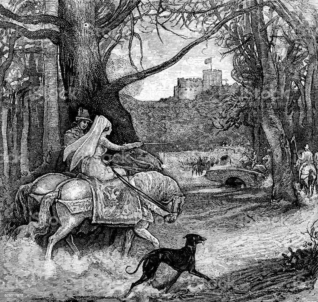 Maiden on Horse back towards castle stock photo