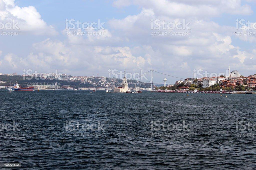 Maiden Tower and Bosphorus Bridge in Istanbul Turkey stock photo