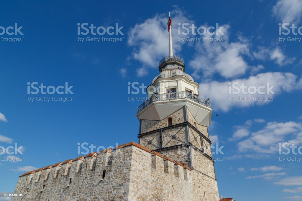 Maiden tower close image from the island. stock photo
