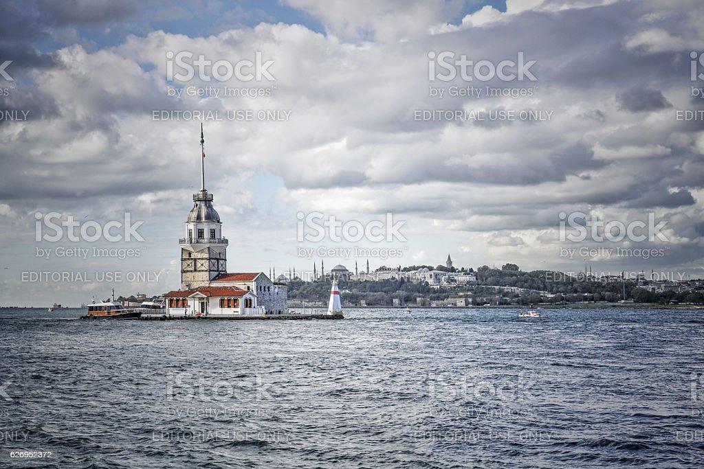 Maiden Tower in Bosphorus, Istanbul in Turkey stock photo