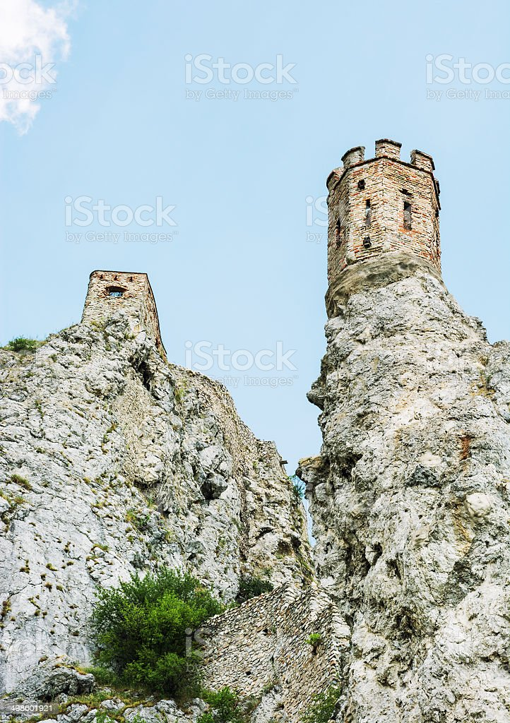 Maiden tower of Devin castle, Slovak republic stock photo