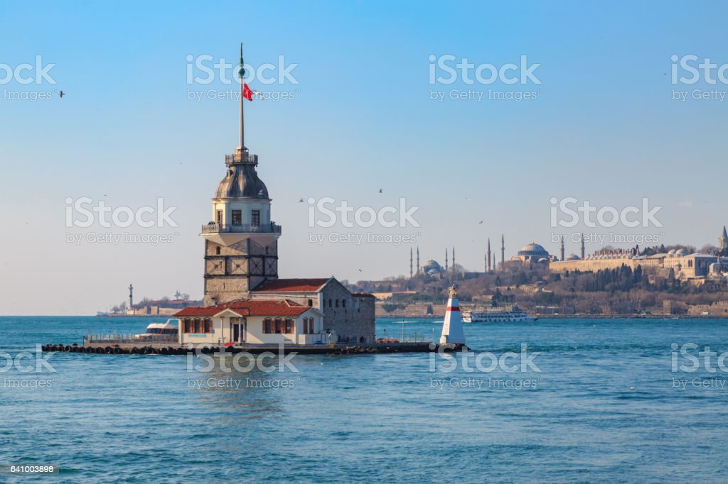 Maiden tower with old city istanbul background. stock photo