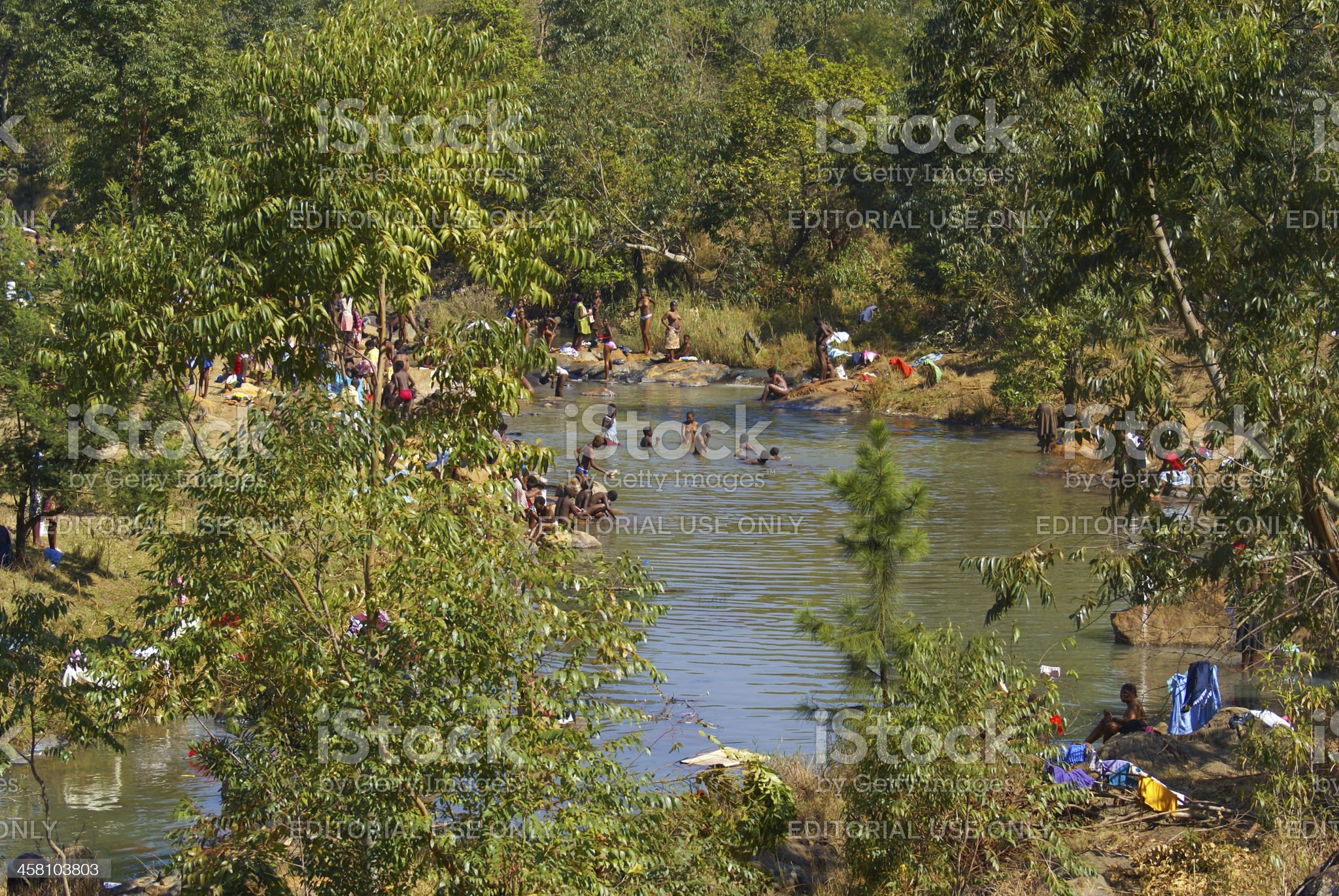 Maidens bathing before the Reed Dance celebration in Swaziland royalty-free stock photo