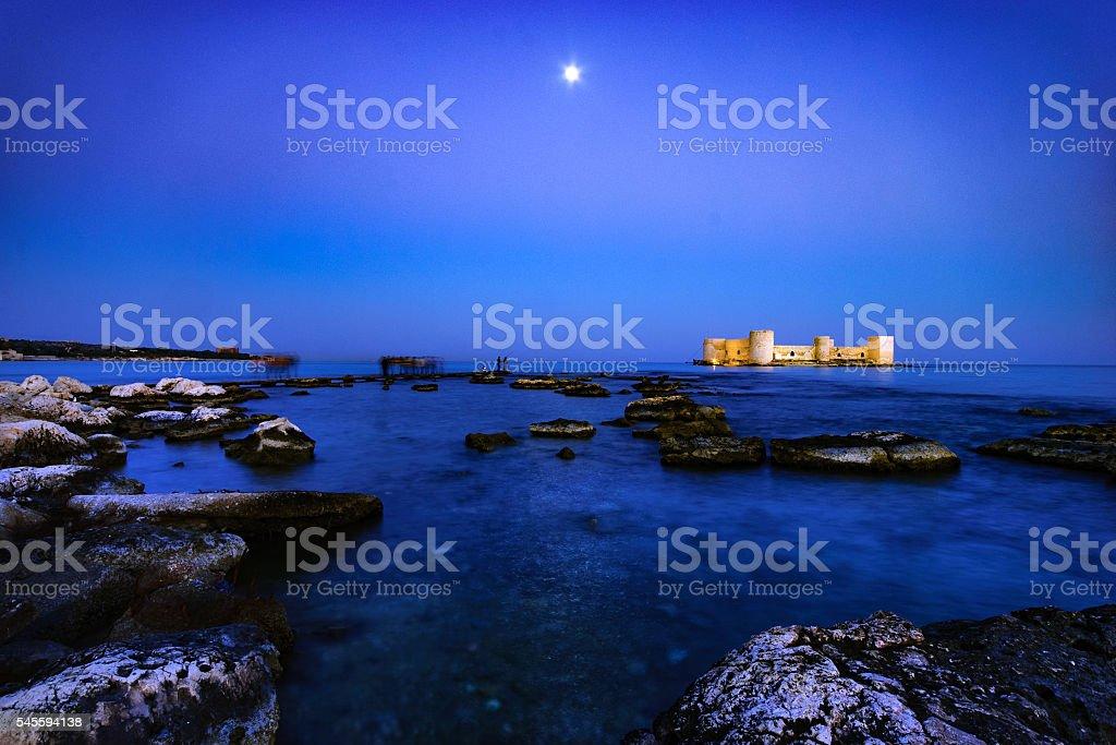 Maiden's Castle at Night stock photo
