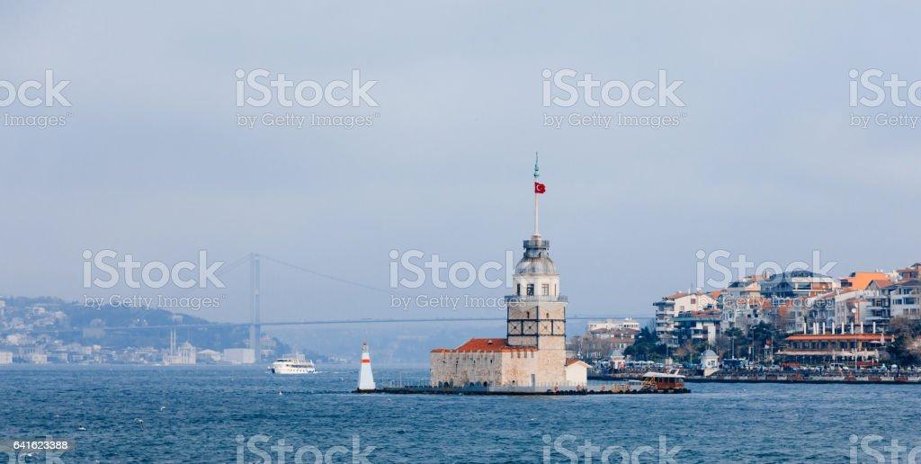 Maiden's Tower and Bosphorus Bridge in Istanbul Turkey stock photo